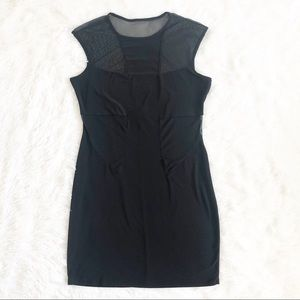 Body Central Solid Black Cut Out Mesh Dress
